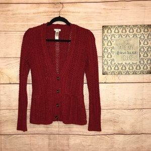 Cache Women's Small Red Knit Cardigan Sweater